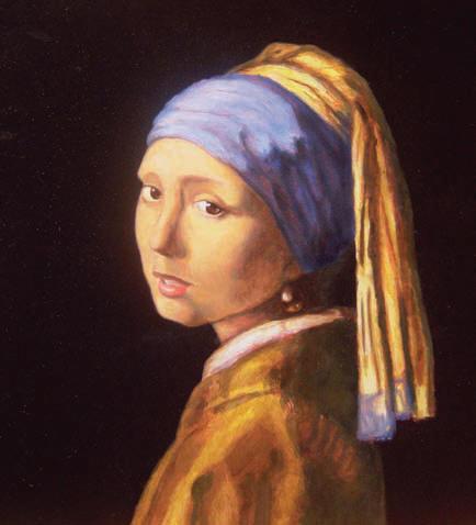 Eindresultaat: 'Meisje met de parel' (naar het origineel van Johannes Vermeer).